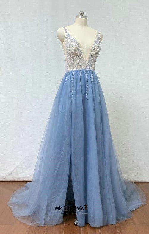 slit blue prom dress