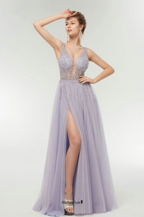 slit lavender prom dress