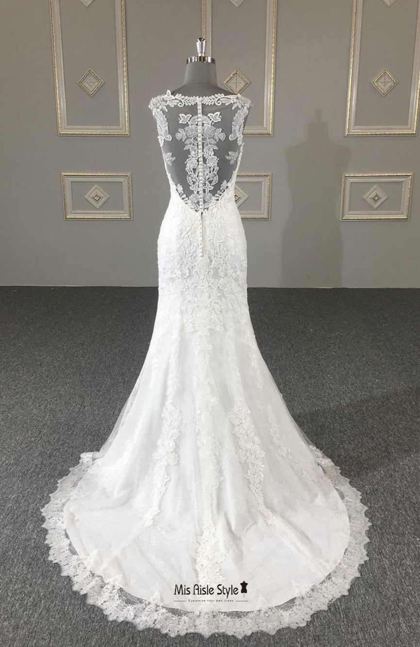 illusion lace wedding dress