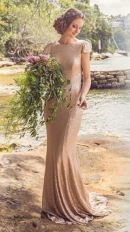 gold sequins bridesmaid dress