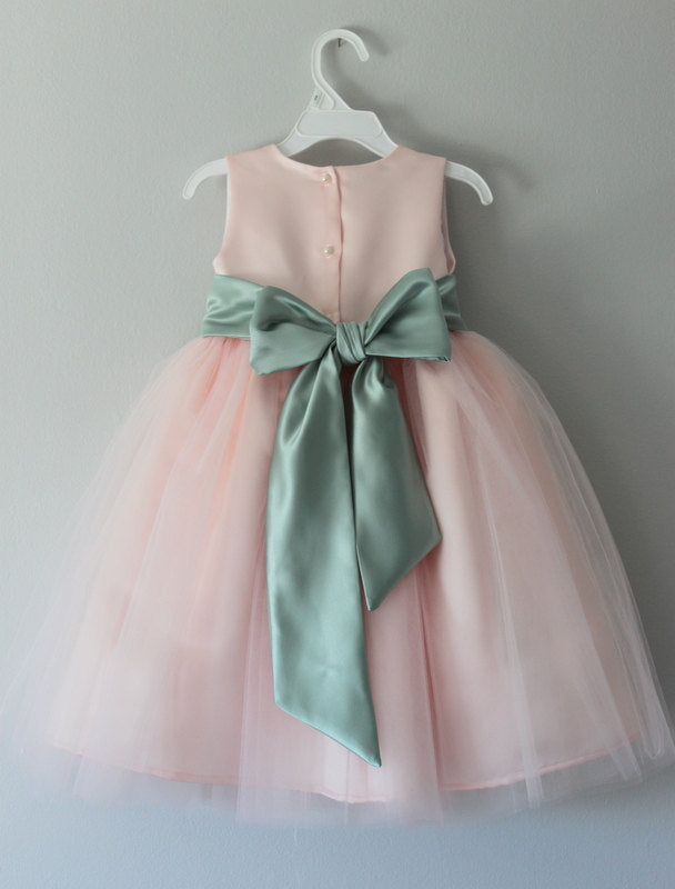 Blush Pink Tulle Flower Girls Dress