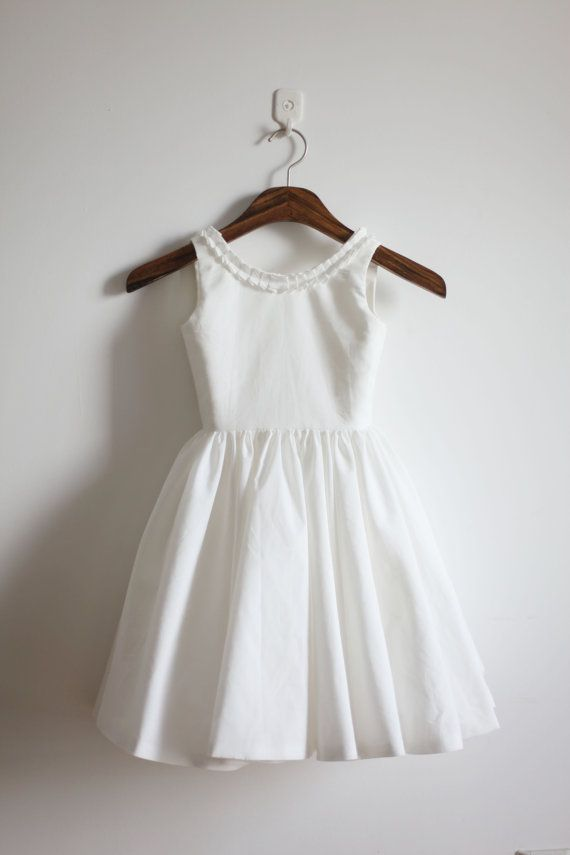 White Low Back Flower Girl Dress