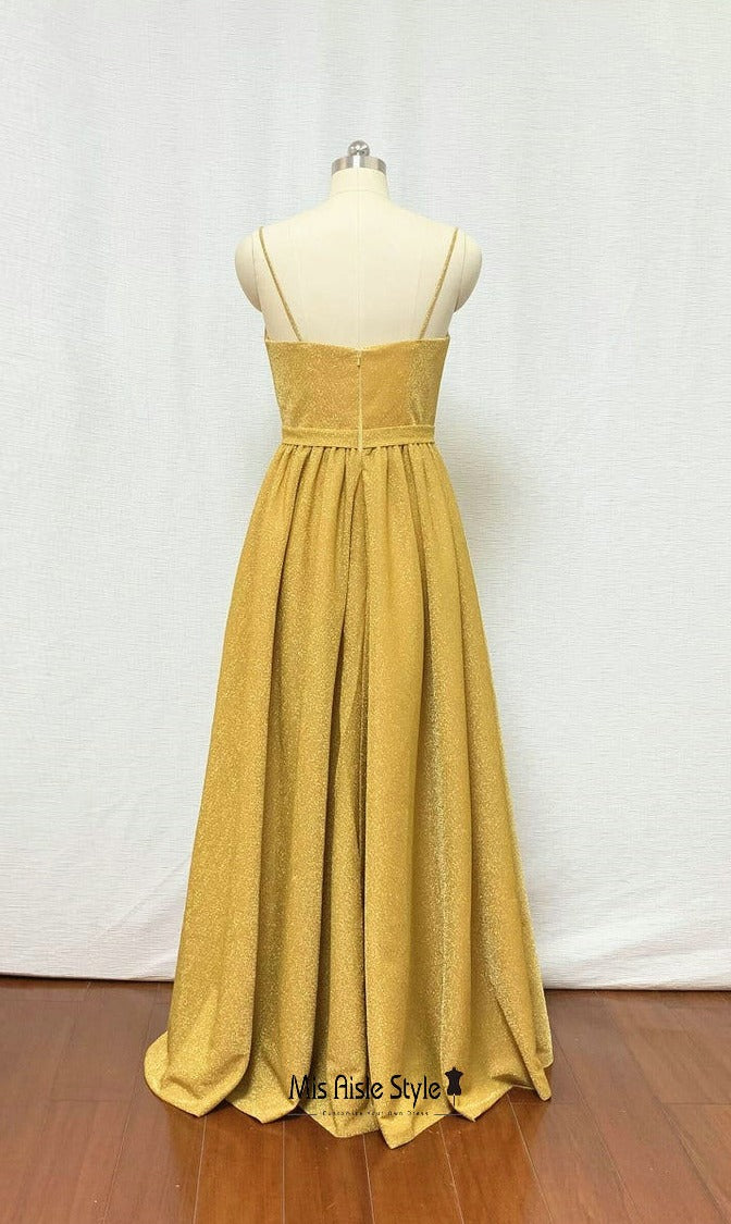 long yellow prom dress