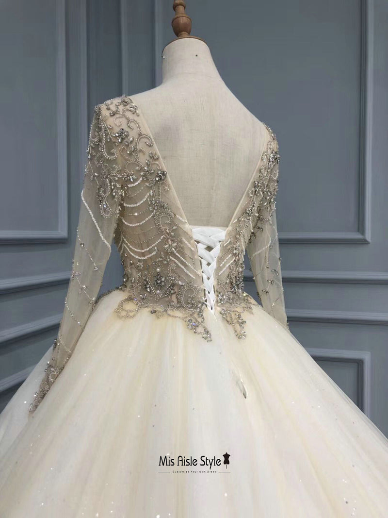 long sleeves beaded wedding dress