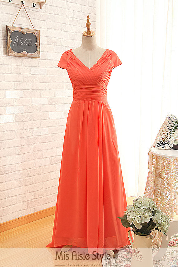 Short Sleeve Orange Formal Party Dress