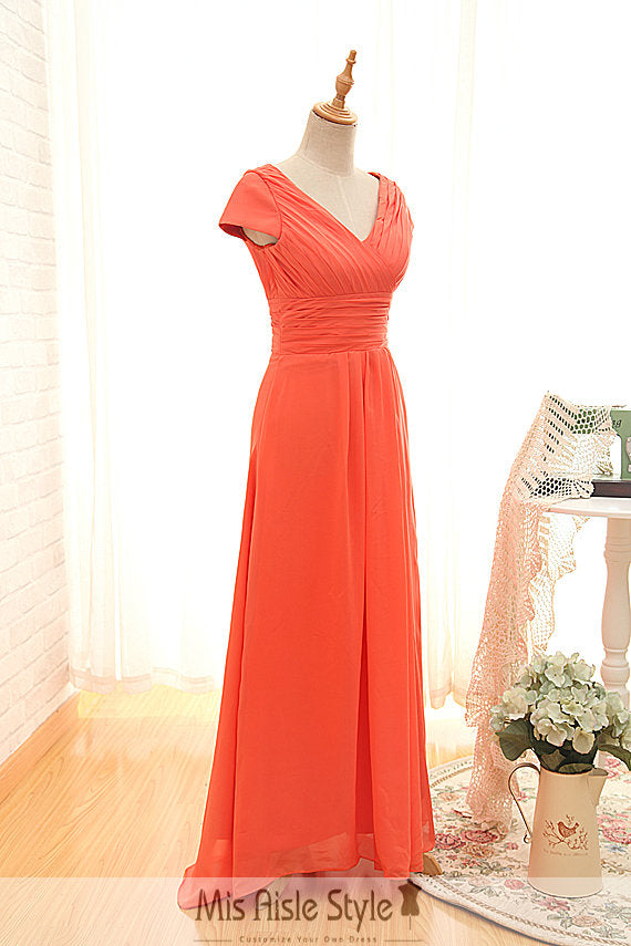 short sleeve bridesmaid dress