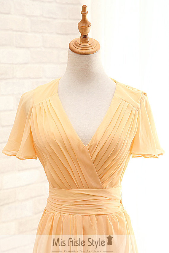 v-neck wedding guest dress