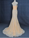 mermaid champagne evening dress