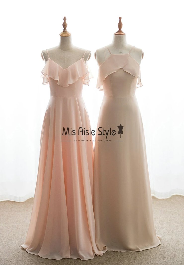 Long nude Bridesmaid dress