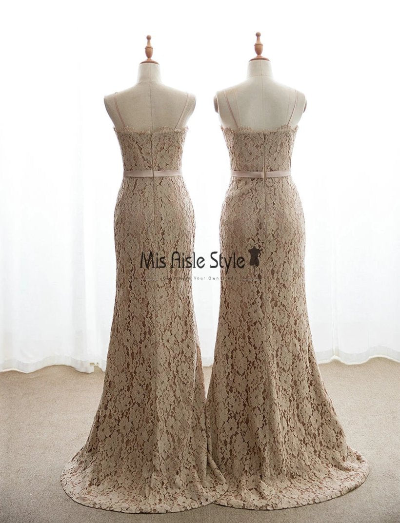 Mermaid Champagne Lace Bridesmaid Dress