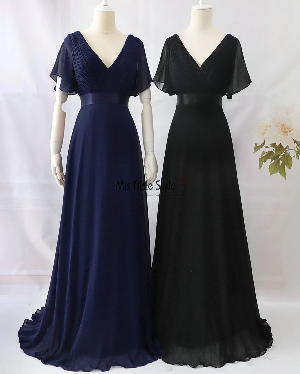 Long V-neck Chiffon Bridesmaid Dress