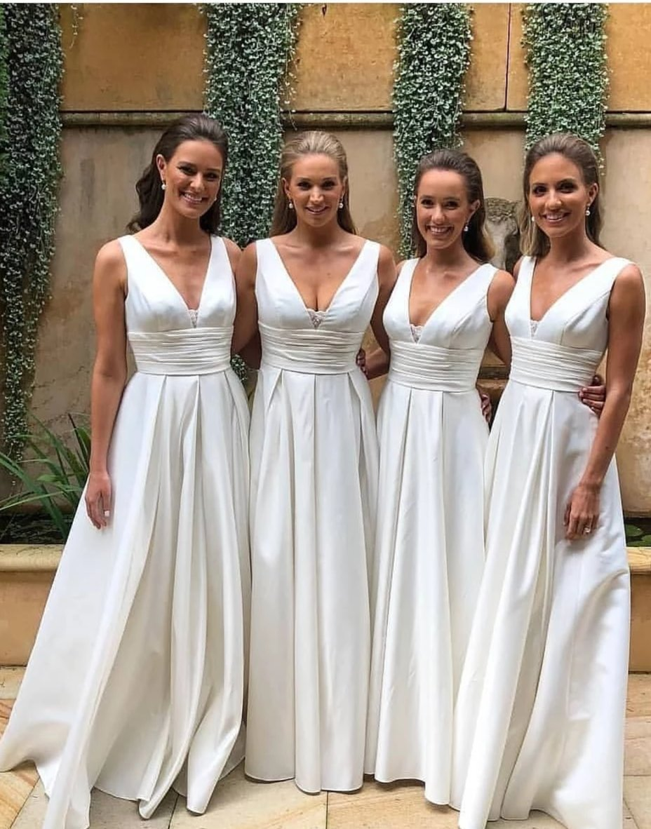 V-neck White Bridesmaid Dress