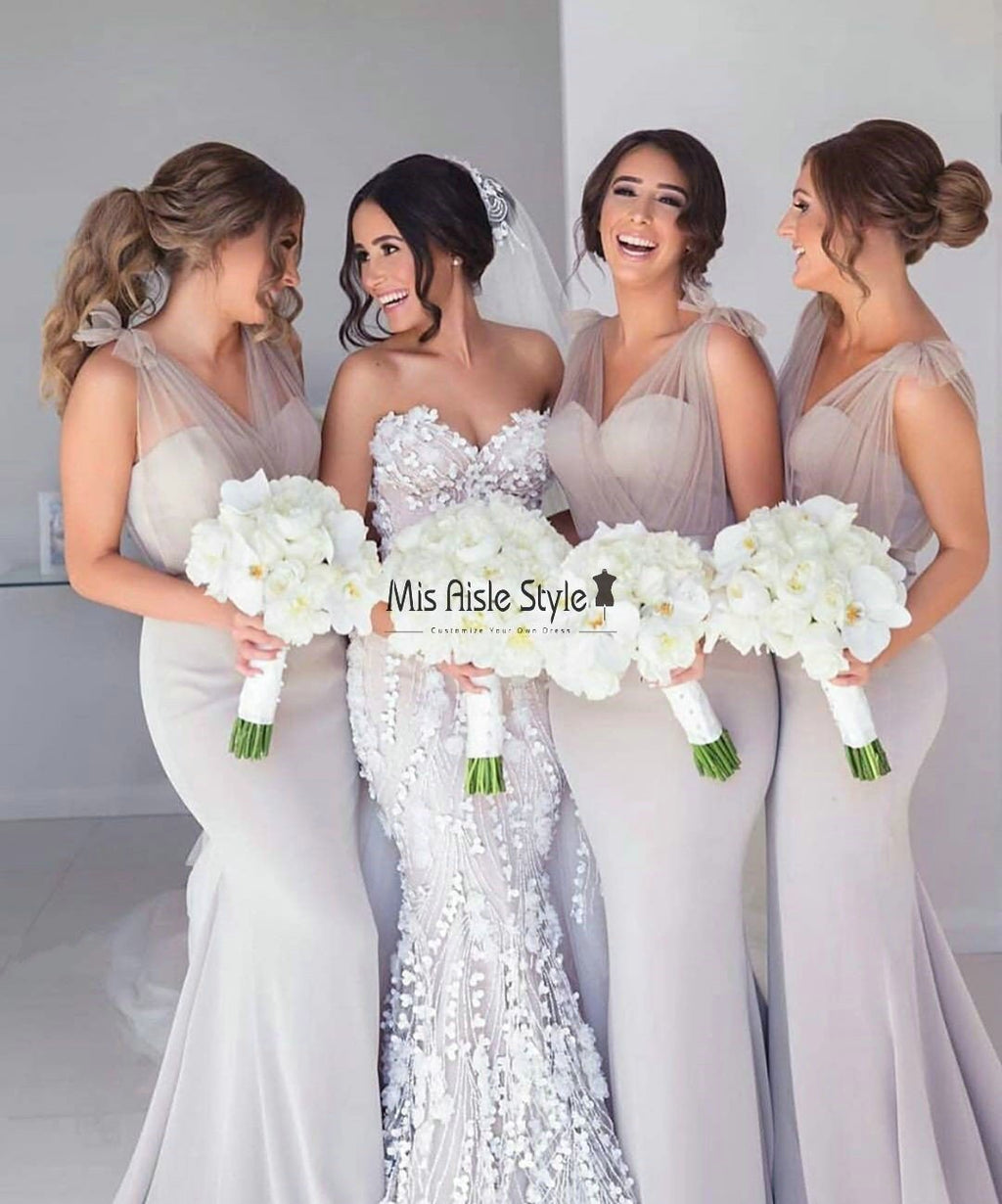 Mermaid silver bridesmaid dress