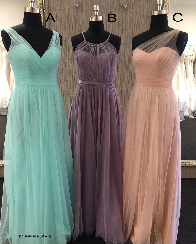 long tulle bridesmaid dress