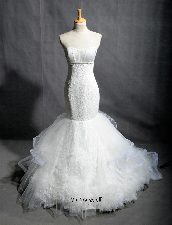 mermaid French Lace wedding dress