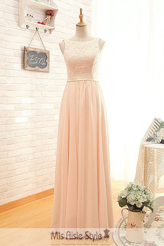 High Neck Blush Bridesmaid Dress