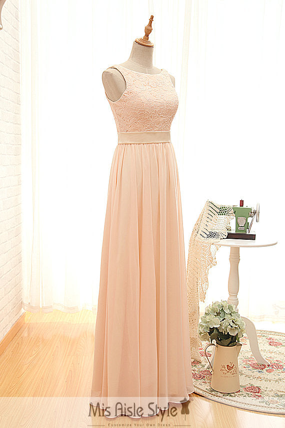 High Neck Blush lace Bridesmaid Dress