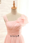 Knee Length Pink Bridesmaid Dress
