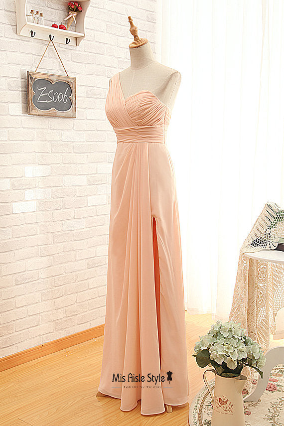 long blush bridesmaid dress