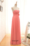 long coral bridesmaid dress