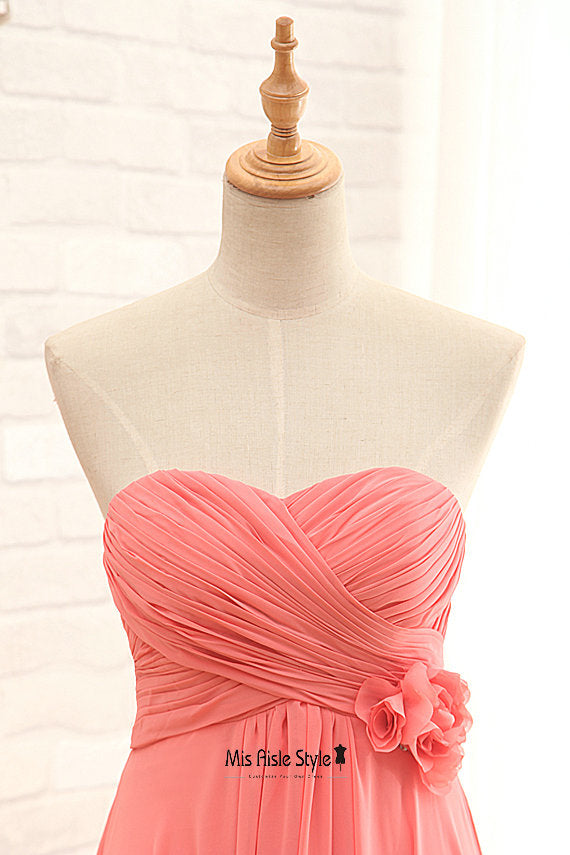 coral wedding party dress