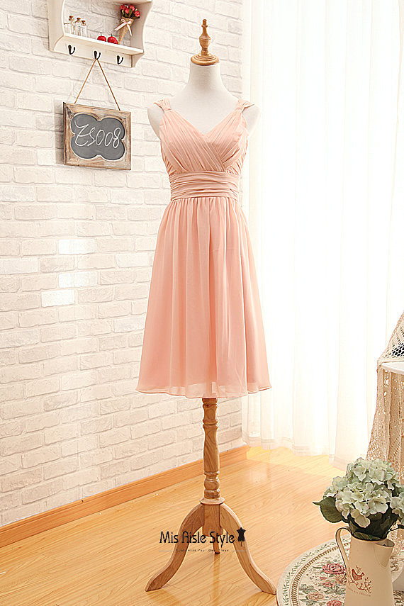 short blush bridesmaid dress