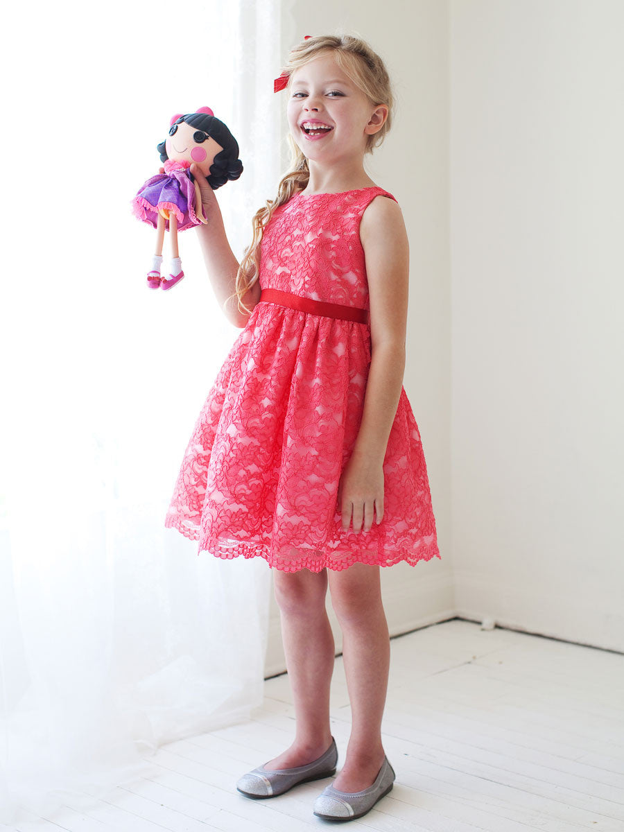 High Quality French Lace Girls Birthday Party Dress With Detachable Sash