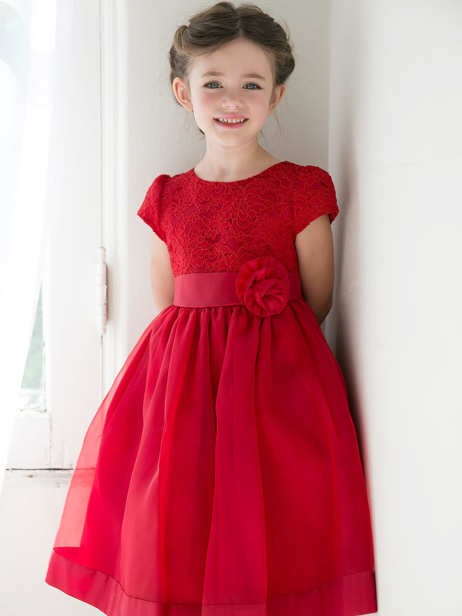 Short Sleeve Red Flower Girl Dress
