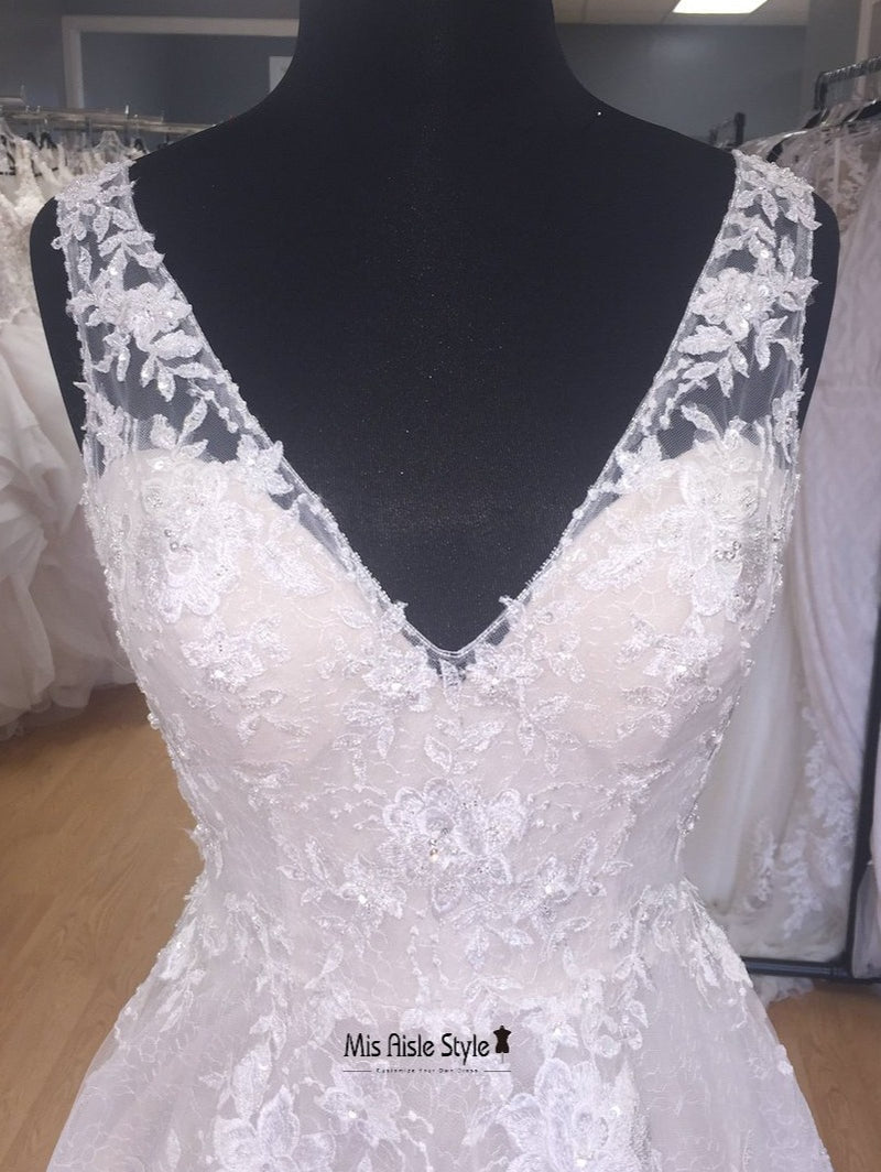 v-neck lace bridal dress