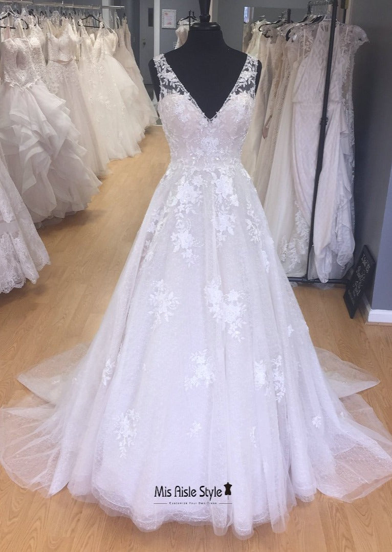 v-neck lace wedding dress