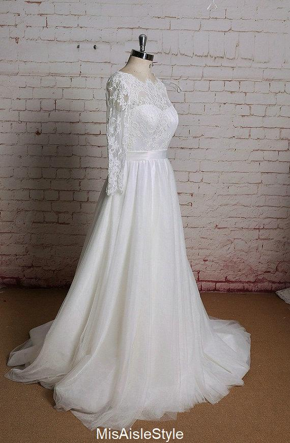 modest long sleeve lace wedding dress