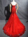 mermaid red evening dress