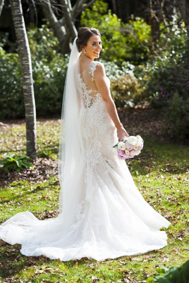 Sheer lace wedding dress