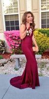 fitted burgundy prom dress