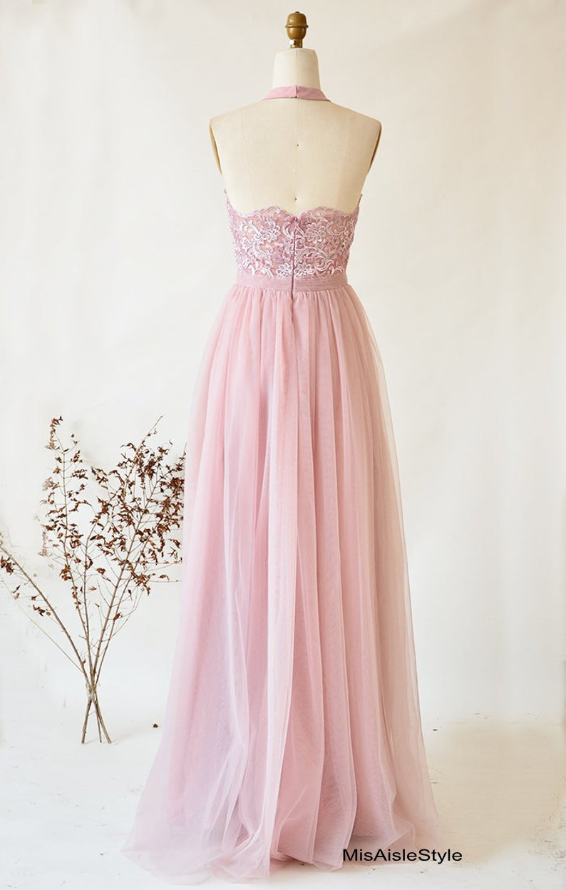 halter neckline bridesmaid dress