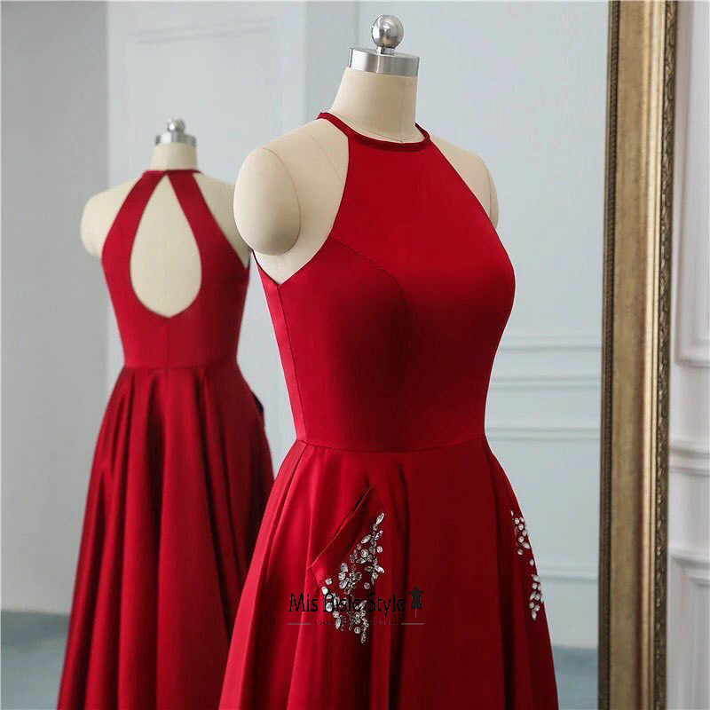 deep red prom gown