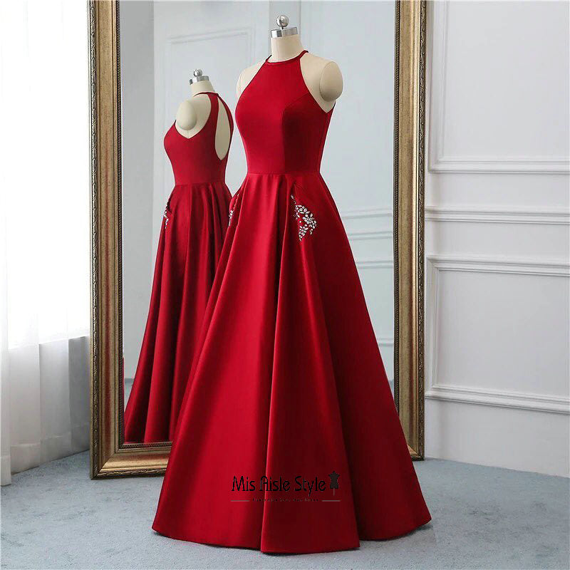 halter neckline prom dress