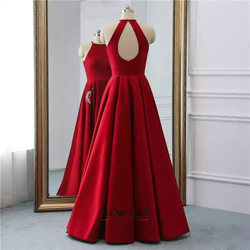 long deep red party dress