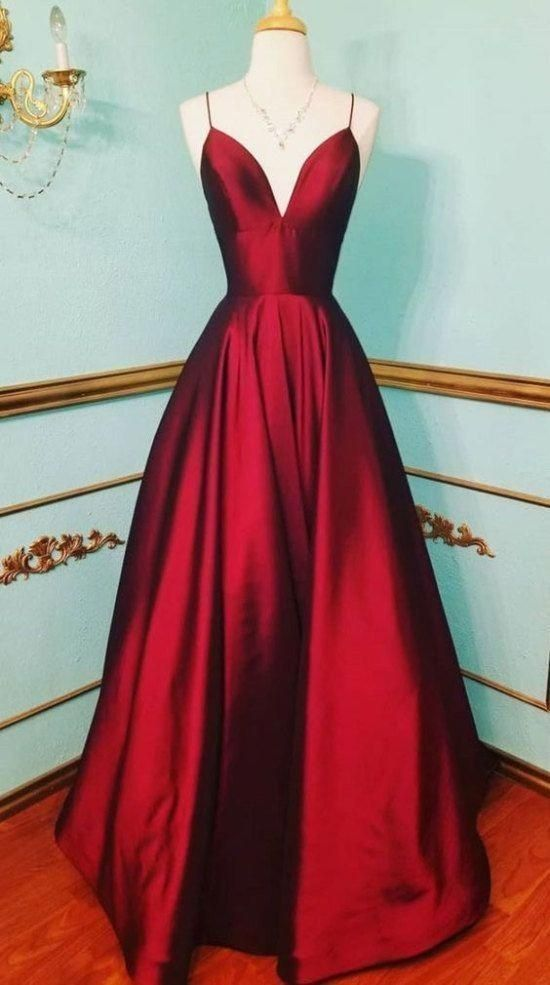 Spaghetti Straps Deep Red Prom Dress