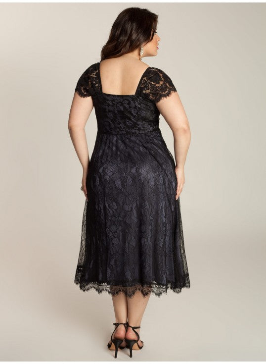 black lace dinner party dress