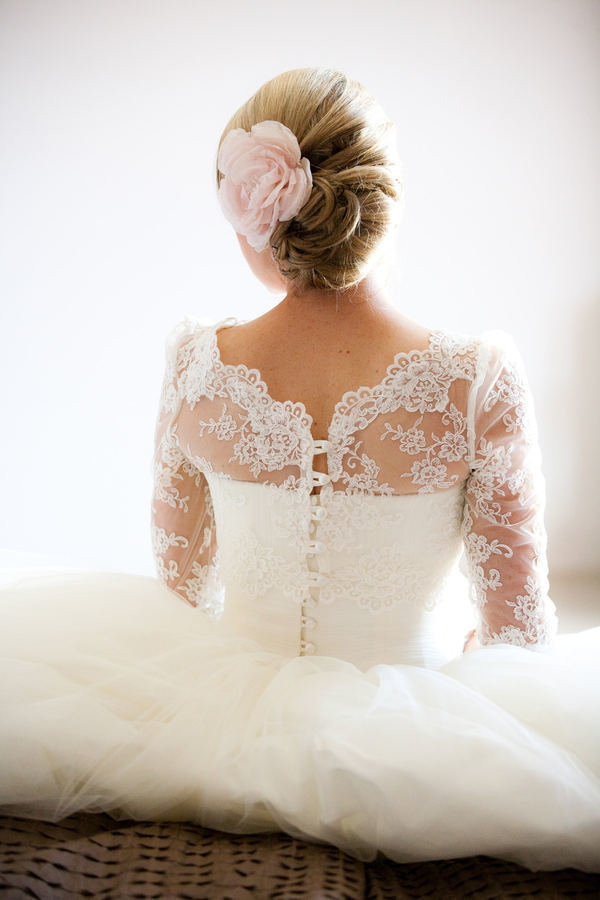 wedding dress with lace jacket