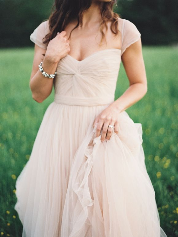 Full Length Cap Sleeve Blush Tulle Wedding Dress