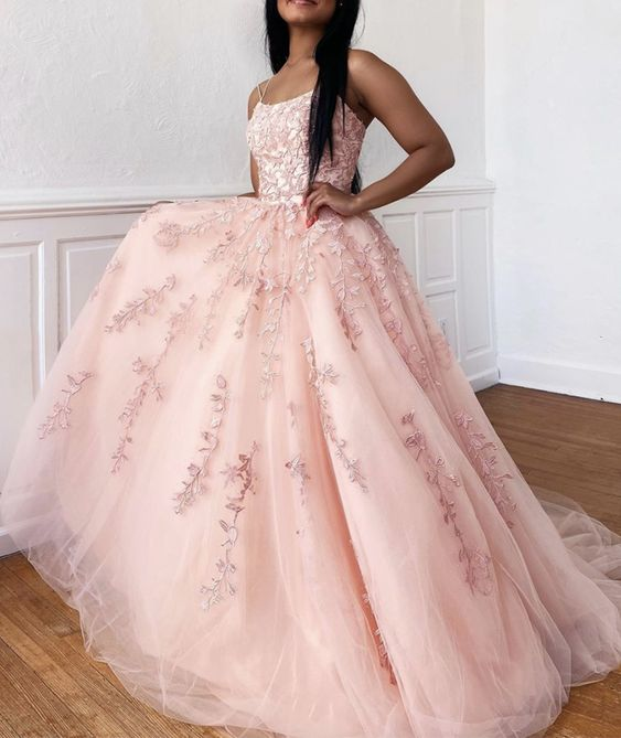 Double Straps Ball Gown Prom Dress