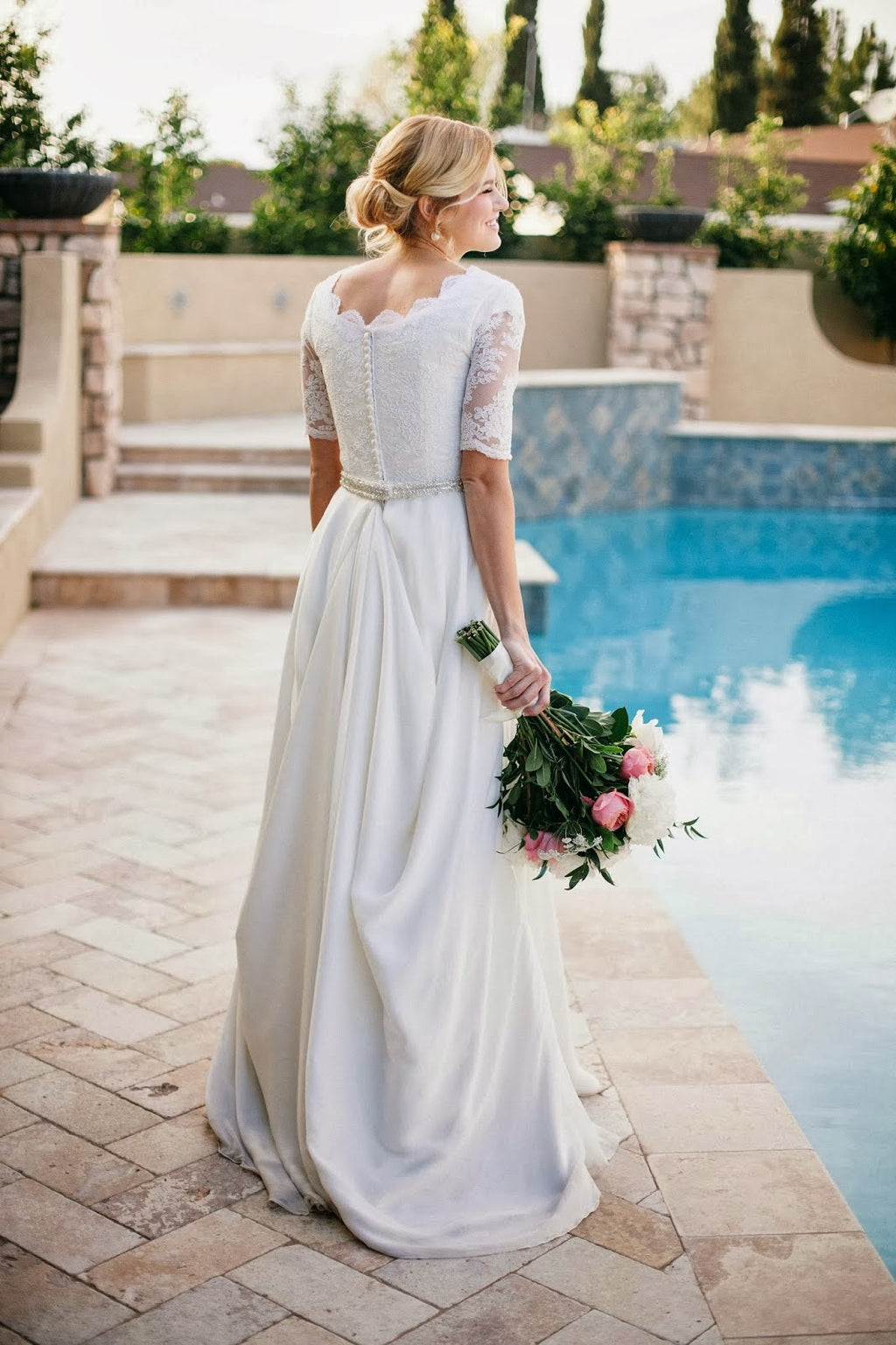Modest Half Sleeve Lace Wedding Dress