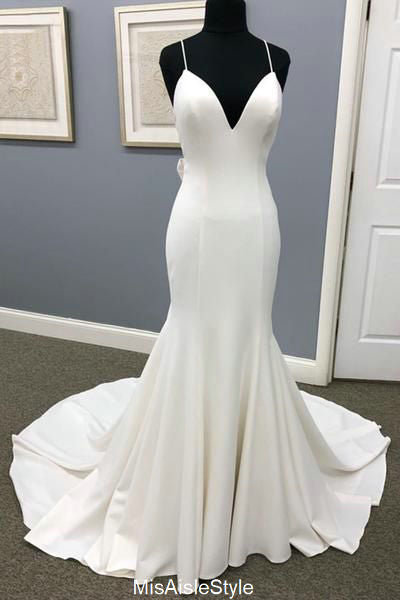Spaghetti Straps Fitted Wedding Dress