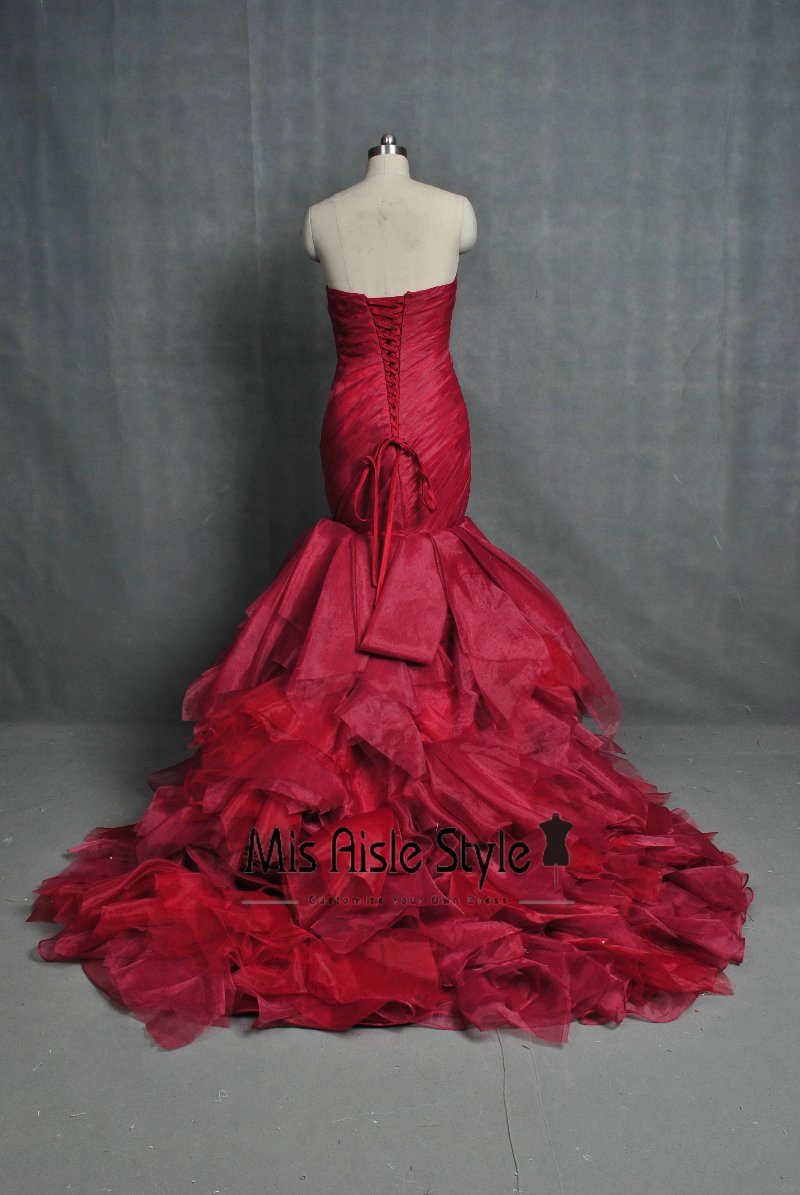 Mermaid Burgundy Wedding Dress