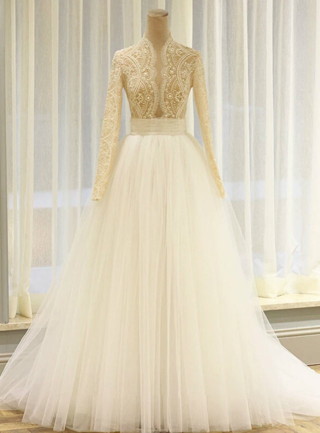 beaded long sleeve bridal dress