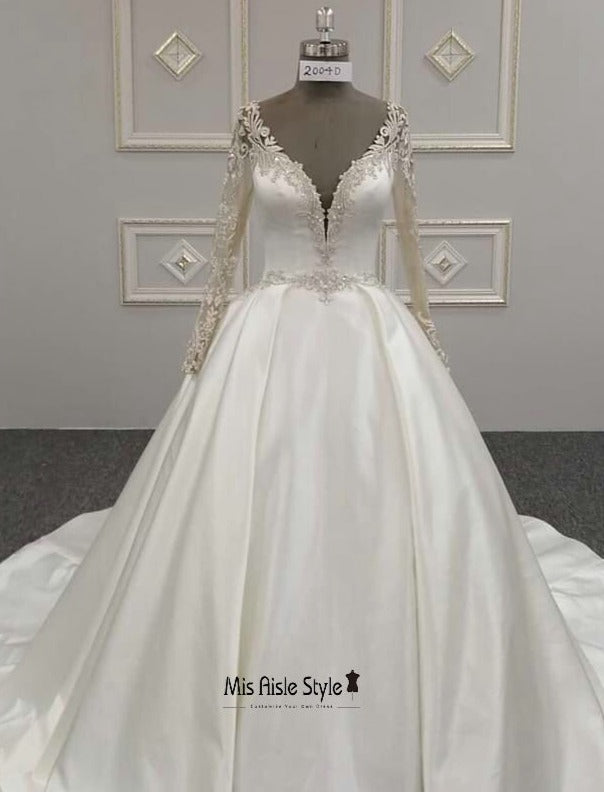Beaded long sleeves wedding dress