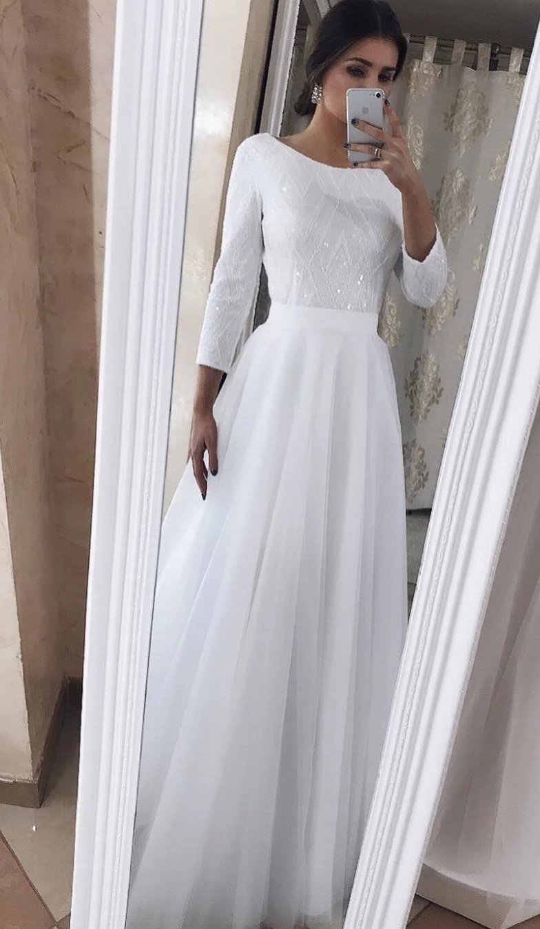 Long Sleeve High Neckline Wedding Dress
