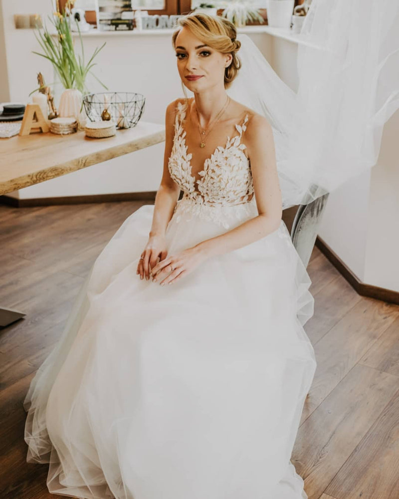 A line Sheer Wedding Dress
